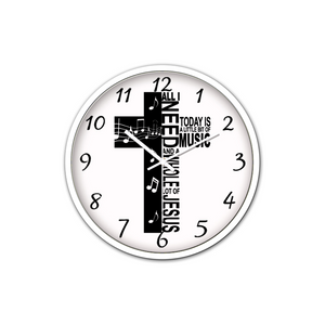 Jesus And Music-Silent Wall Clock-Wall clock-Elisway