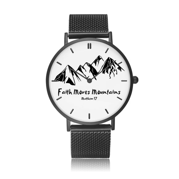 Faith Moves Mountains-Watch (Stainless Steel Strap)-Elisway