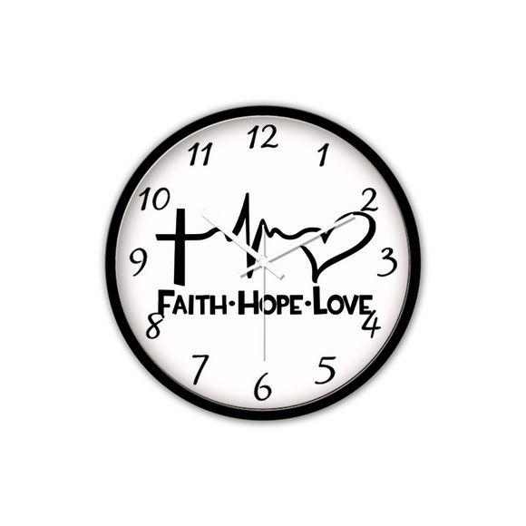Faith Hope Love-Silent Wall Clock-Wall clock-Elisway