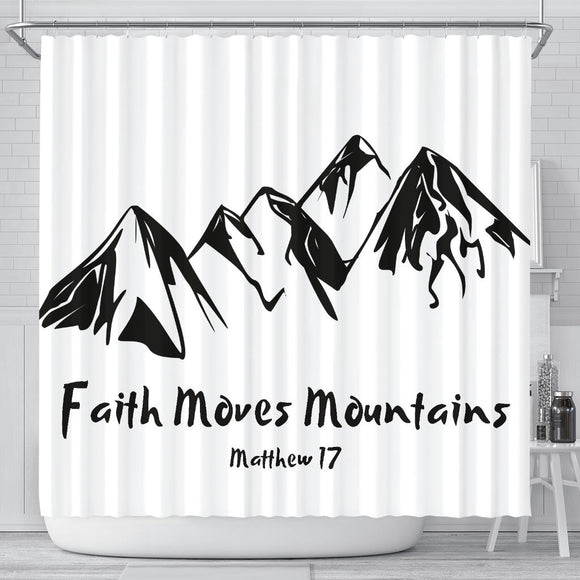 Faith Moves Mountains- Shower Curtains-Elisway