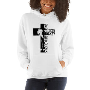Jesus And Hockey-Hooded Sweatshirt-Elisway