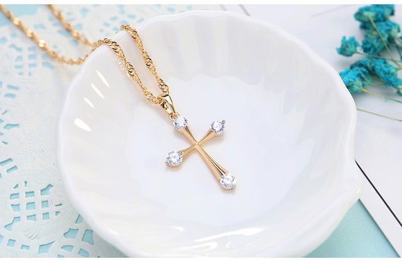 Diamond Edge Cross-Necklace - elisway
