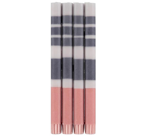 Eco Striped Candle Colour Block Candle - Gunmetal Grey, Gull & Old Rose