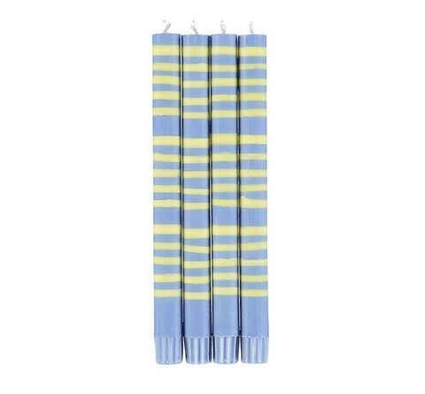 Eco Striped Candle - Saxe Blue and Primrose