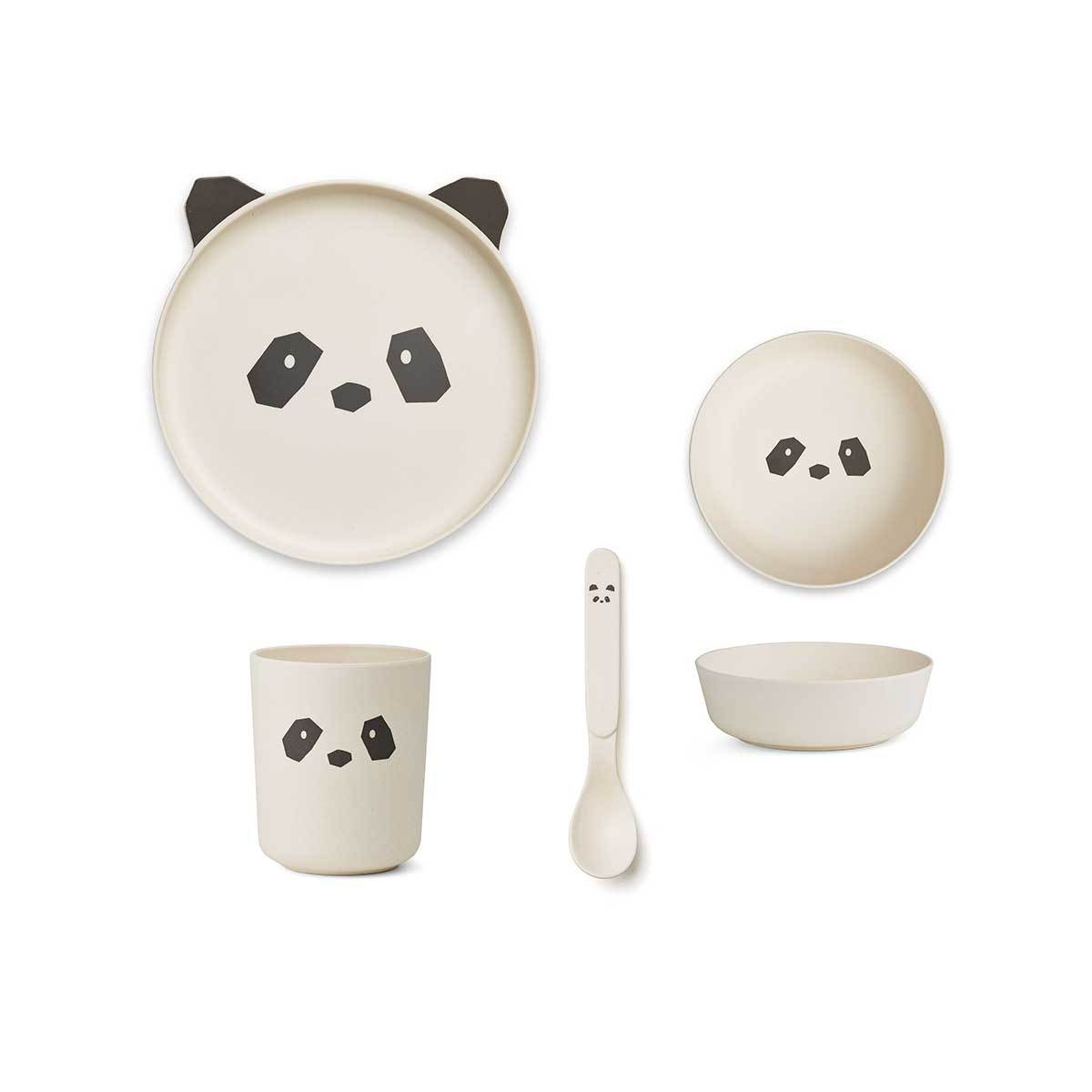 Bamboo Tableware Set - Panda Cream