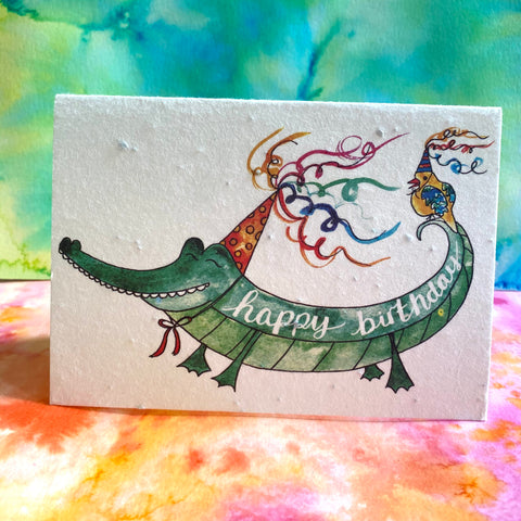 Plantable Flower Card - Happy Birthday Alligator