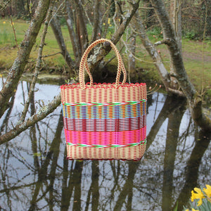 Large Woven Basket - Cream / Multi