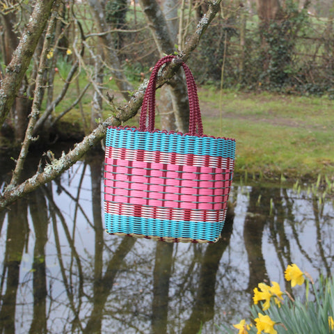 Small Woven Basket - Turquoise / Pinks