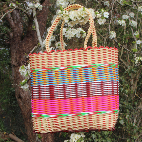 Small Woven Basket - Cream / Multi