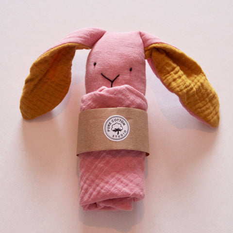 Small Bunny Comforter - Blush with Mustard Yellow Ears