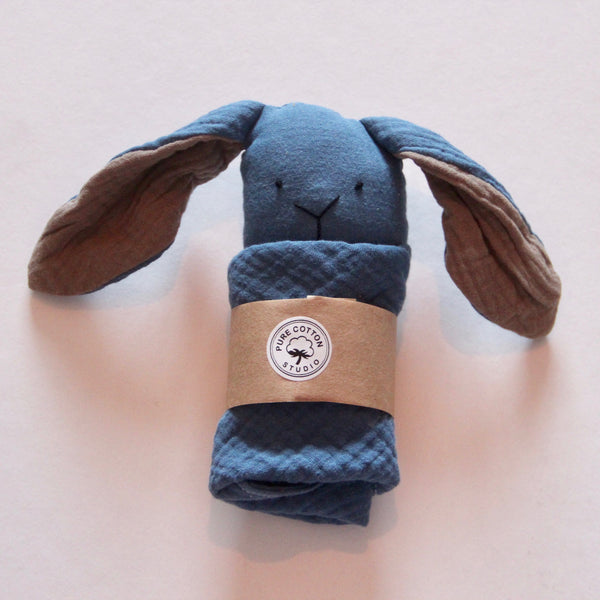 Small Bunny Comforter - Denim Blue with Caffe Latte Ears