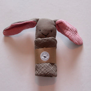 Small Bunny Comforter - Caffe Latte with Blush Pink Ears