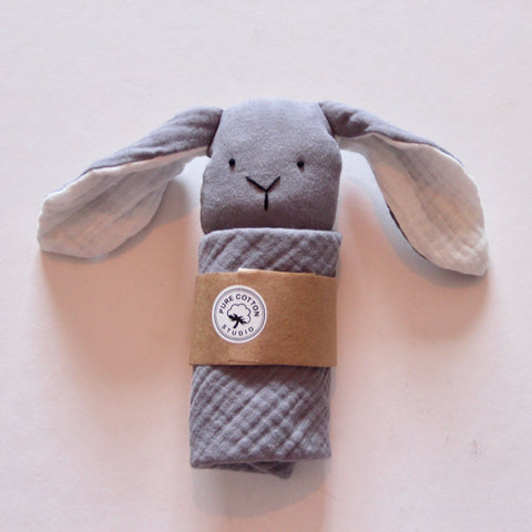 Small Bunny Comforter - Grey with Snow White Ears