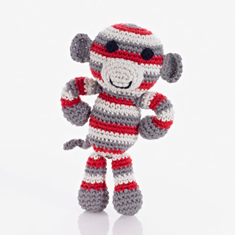 Stripey Monkey Rattle Red