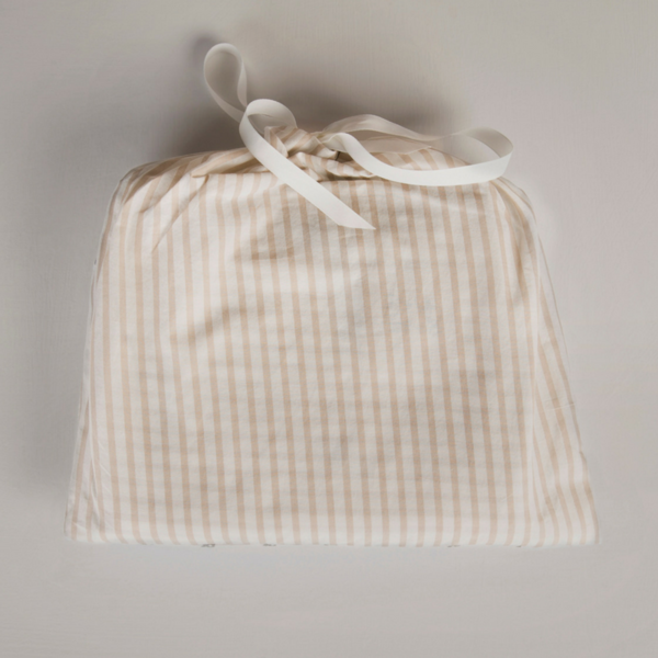 Oatmeal Stripe & Grey Print Organic Cotton Baby Blanket