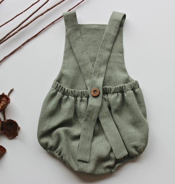 Forest Green Button Romper