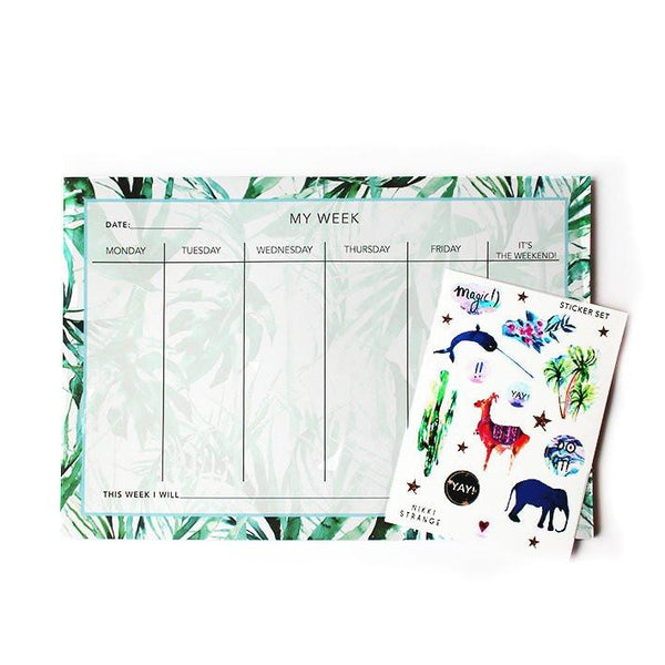 A4 Paradise Palms Weekly Planner & Sticker Set