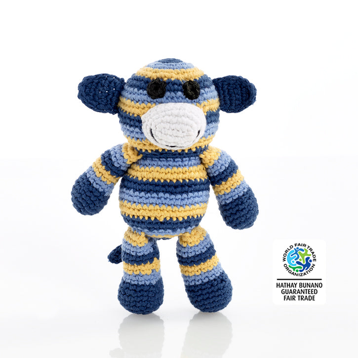 Stripey Monkey Rattle Blue