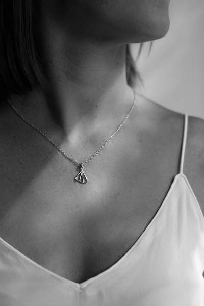 Wedge Fan Necklace - Silver