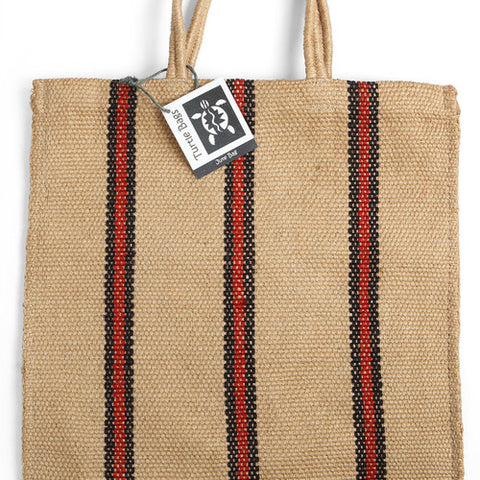 Red & Black Striped Jute Bag