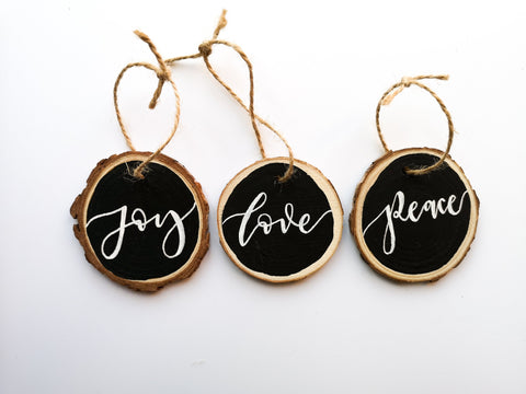 Joy, Love, Peace Wooden Tags