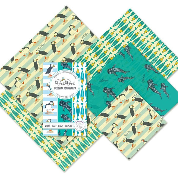 Beeswax Food Wraps - The Family Pack - Ocean