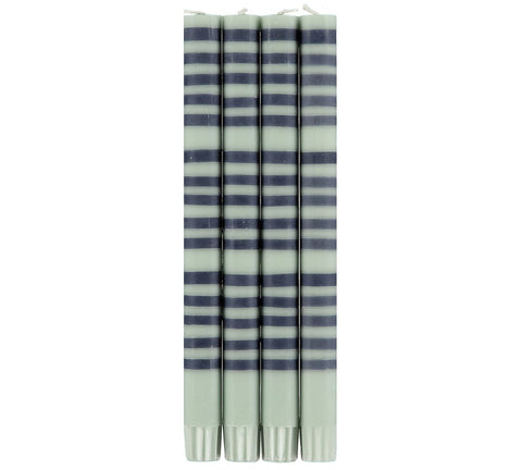 Eco Striped Candle - Opaline & Indigo
