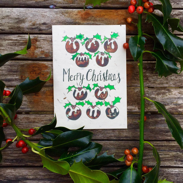 Christmas Puddings - Plantable Card
