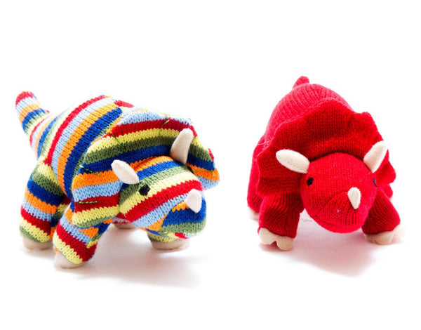 Stripy Triceratops Knitted Dinosaur Rattle