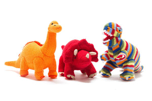 Triceratops Knitted Dinosaur Rattle