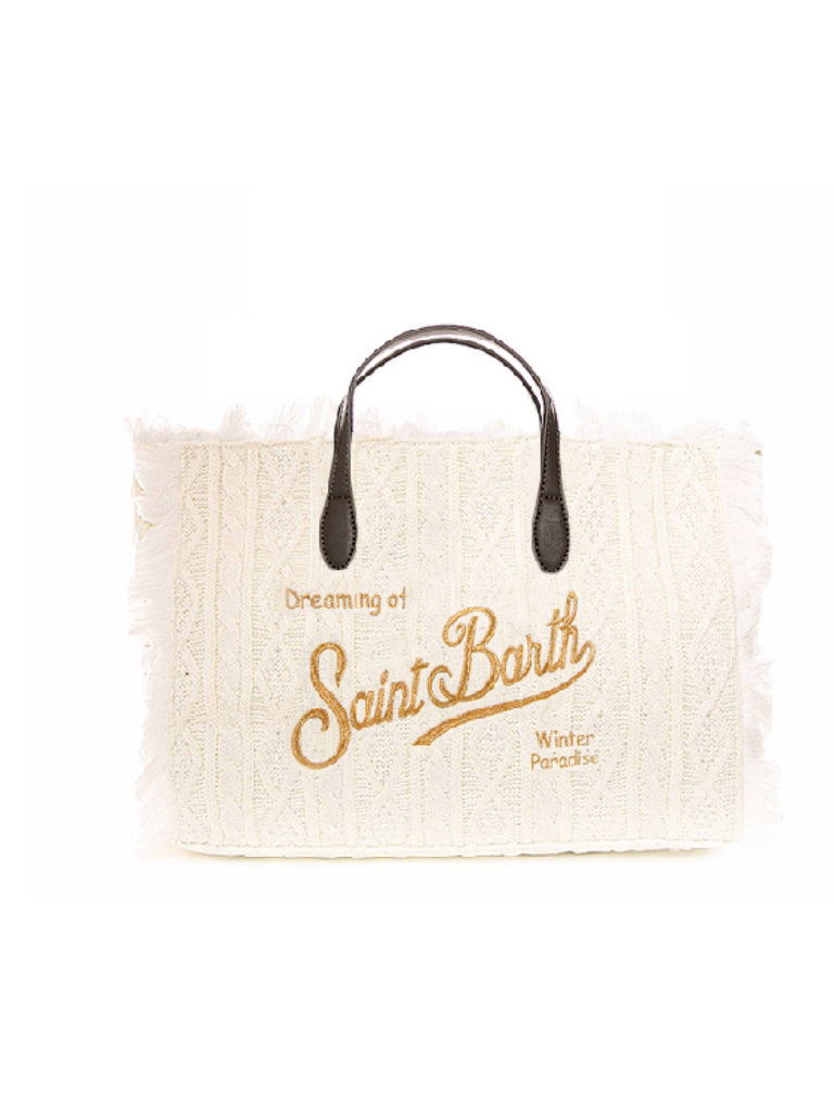 Borsa media MC2 Saint Barth lana con trecce e frange