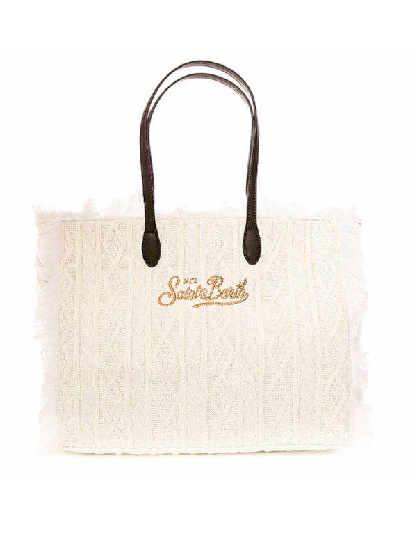 Borsa shopping MC2 Saint Barth lana con trecce e frange