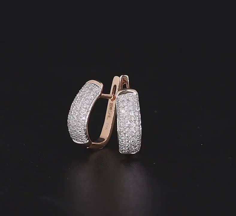 Load and play video in Gallery viewer, Elegant 14k rose gold clip on-earrings with sparkling diamond