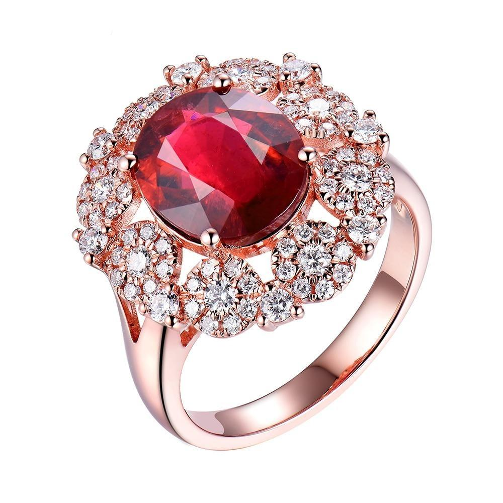 5.20 Ct pure Tourmaline prong-setting ring with 18k rose gold & diamond
