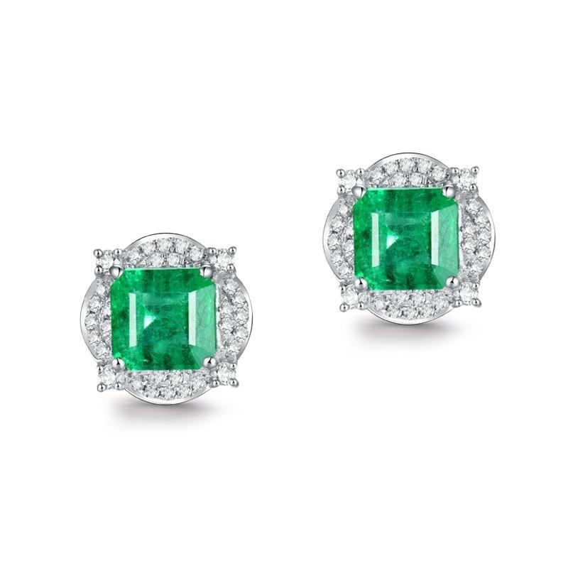 1.7 Ct deep green Emerald stud-earrings with 18k white gold & diamond