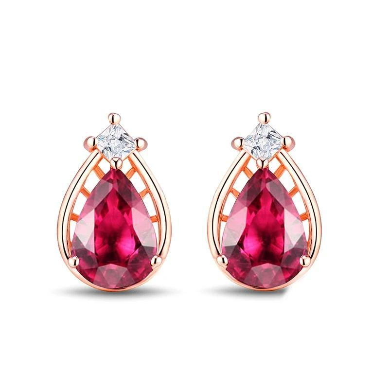 Alluring 0.83 red Tourmaline stud-earrings with 14k rose gold & sparkling diamond