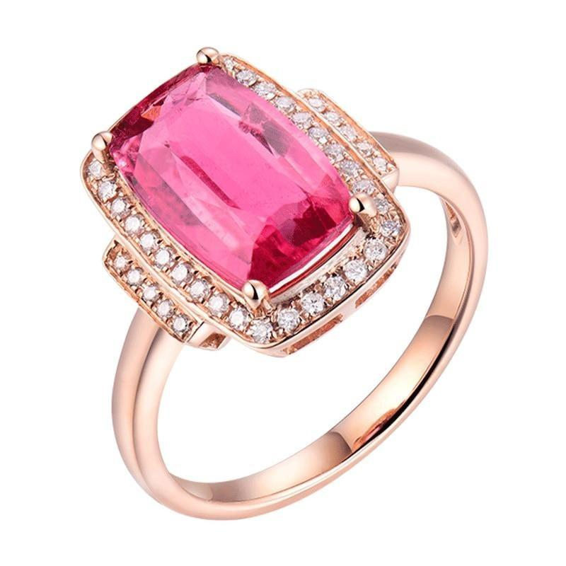 3.0 Ct pure Tourmaline prong-setting ring with 18k rose gold & diamond