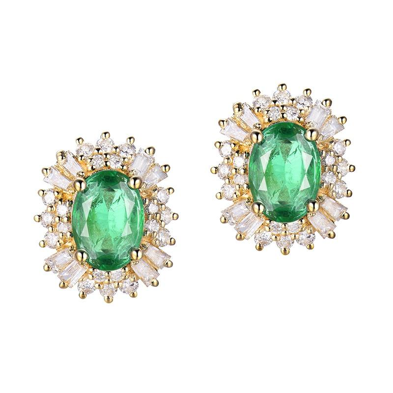 1.48 Ct deep green Emerald stud-earrings with 18k white/yellow/rose gold & diamond