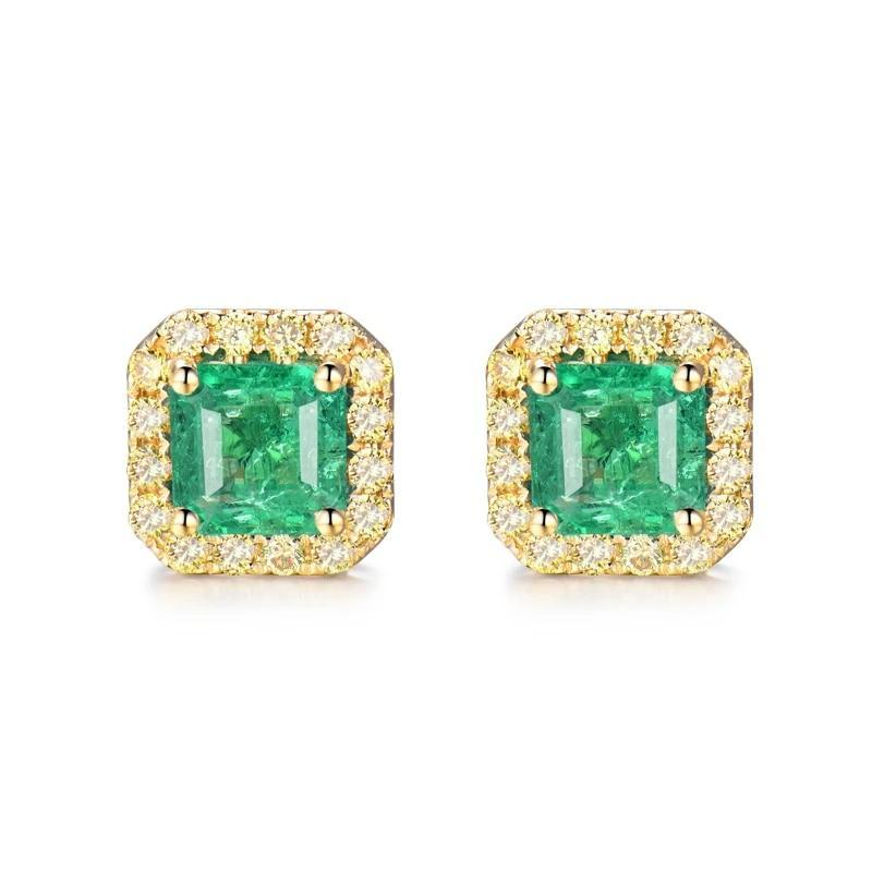 Elegant 1.8 Ct deep green Emerald stud-earrings with 18k yellow/white/rose gold & diamond