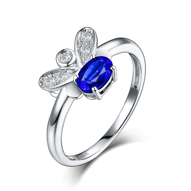 0.56 Ct deep blue Sapphire prong-setting ring with 14k white gold & diamond