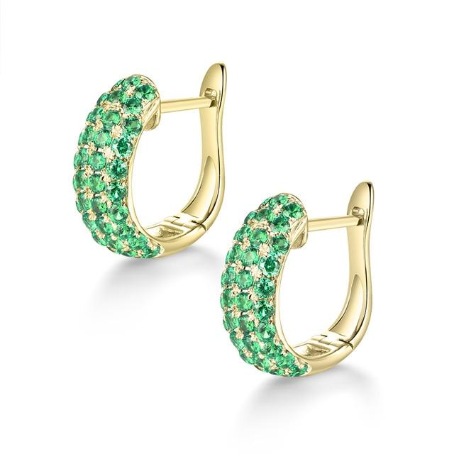 2.0 Ct deep green Emerald clip-on-earrings with 14k yellow gold