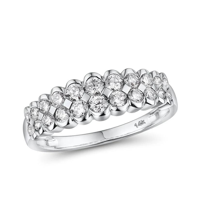 Elegant 14k white gold band-setting ring with sparkling diamond