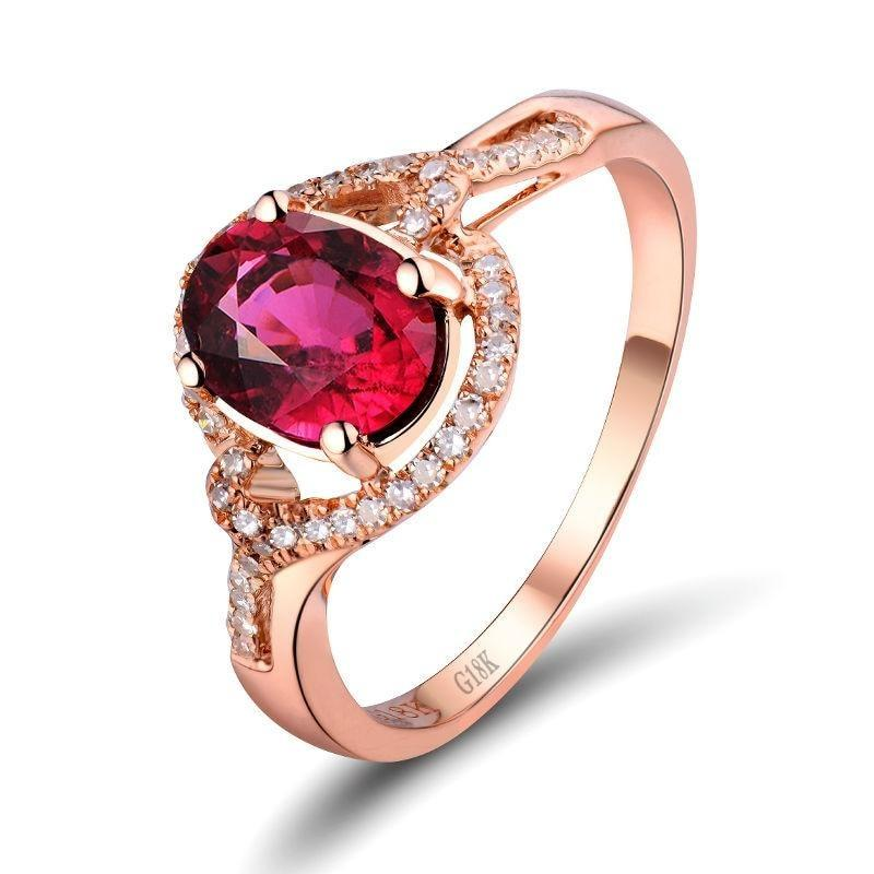 1.40 Ct pure Tourmaline prong-setting ring with 18k rose gold & diamond