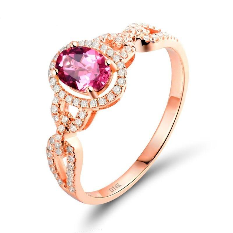 1.05 Ct pure Tourmaline prong-setting ring with 14k rose gold & diamond