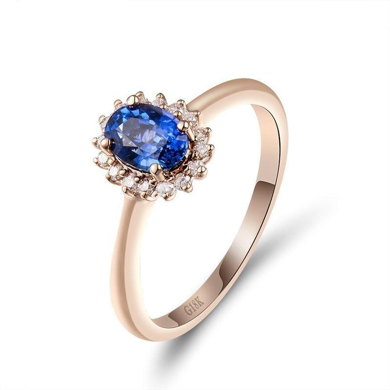 0.77 Ct deep blue Sapphire prong-setting ring with 18k rose gold & diamond