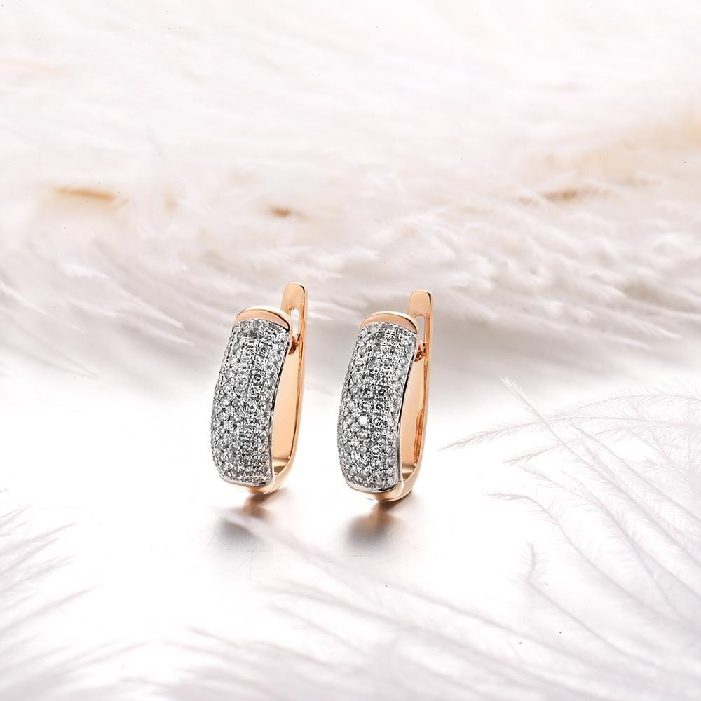 Elegant 14k rose gold clip on-earrings with sparkling diamond