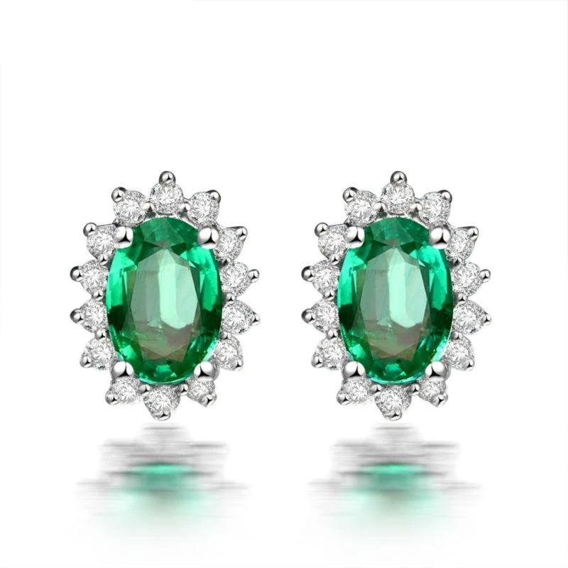 0.9 Ct deep green Emerald stud-earrings with 18k white gold & diamond