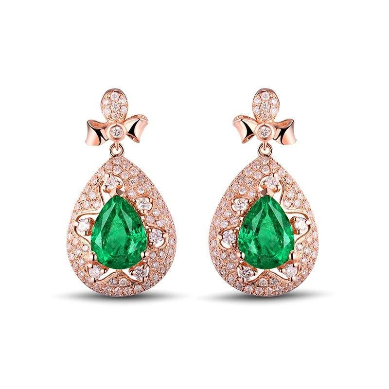 Luxurious 1.86 Ct deep green Emerald drop-earrings with 18k rose gold & diamond