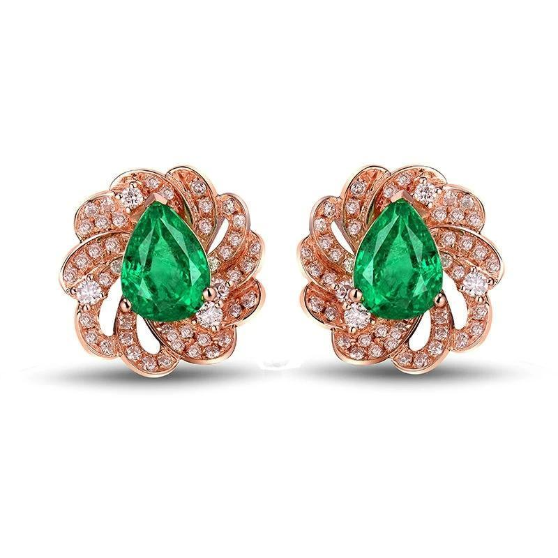 Water drop 1.68 Ct deep green Emerald stud-earrings with 18k rose gold & diamond