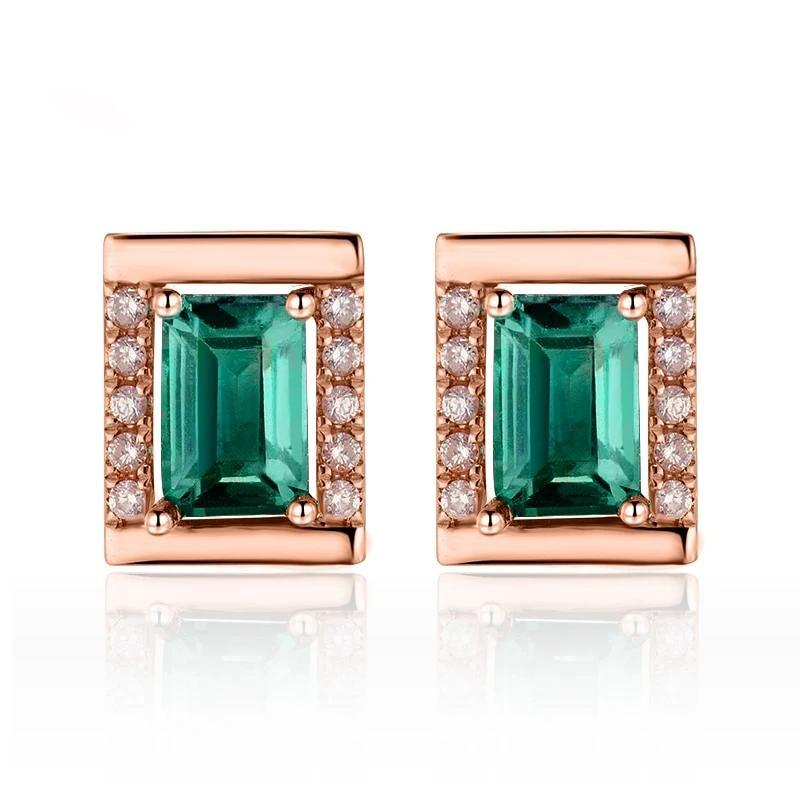 Elegant 1.23 Ct deep green Emerald stud-earrings with 18k rose gold & diamond